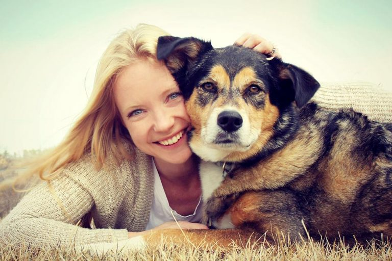 Picture of woman and an older dog