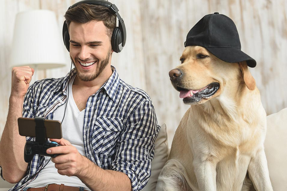 Picture of man and his dog looking at a phone