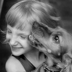 Picture of dog and a girl