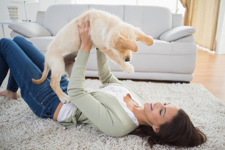 Picture of a woman on a rug holding up a puppy