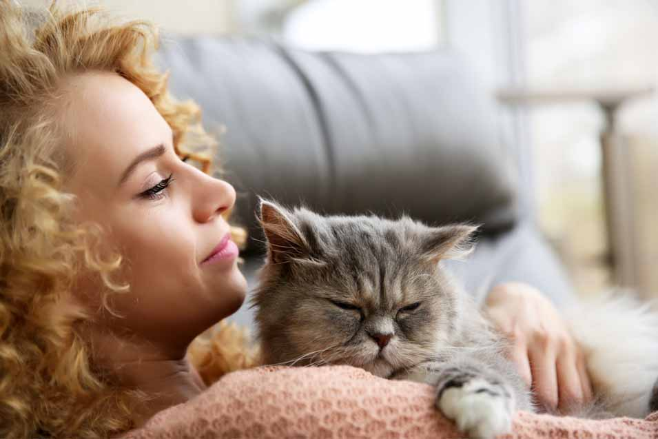 Picture of woman on a couch holding a cat
