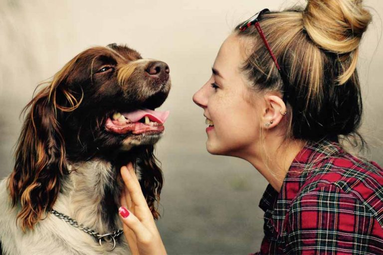Picture of woman talking to a dog