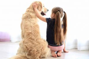 Picture of girl petting a dog