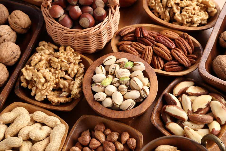 Picture of several types of nuts