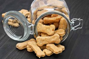 Picture of a jar of dog treats
