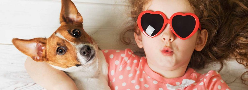 Picture of a girl and her dog