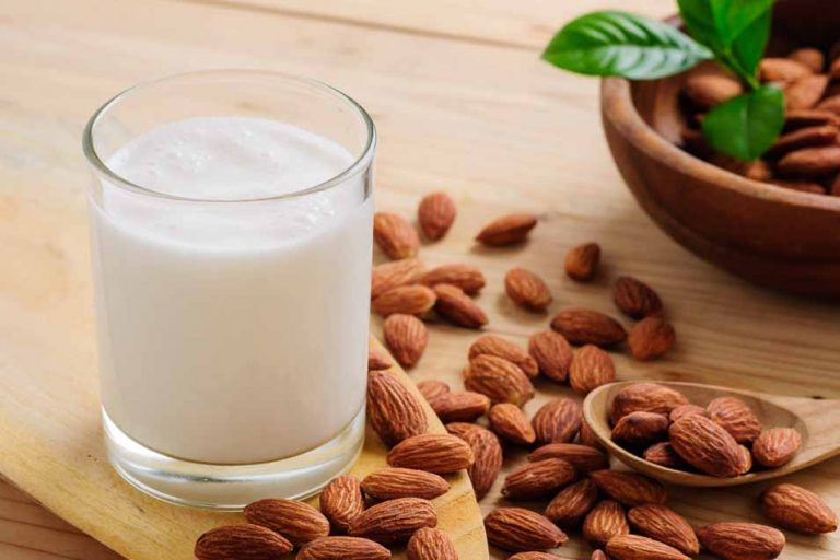 Picture of almond milk and almonds