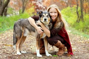Picture of a woman and a dog