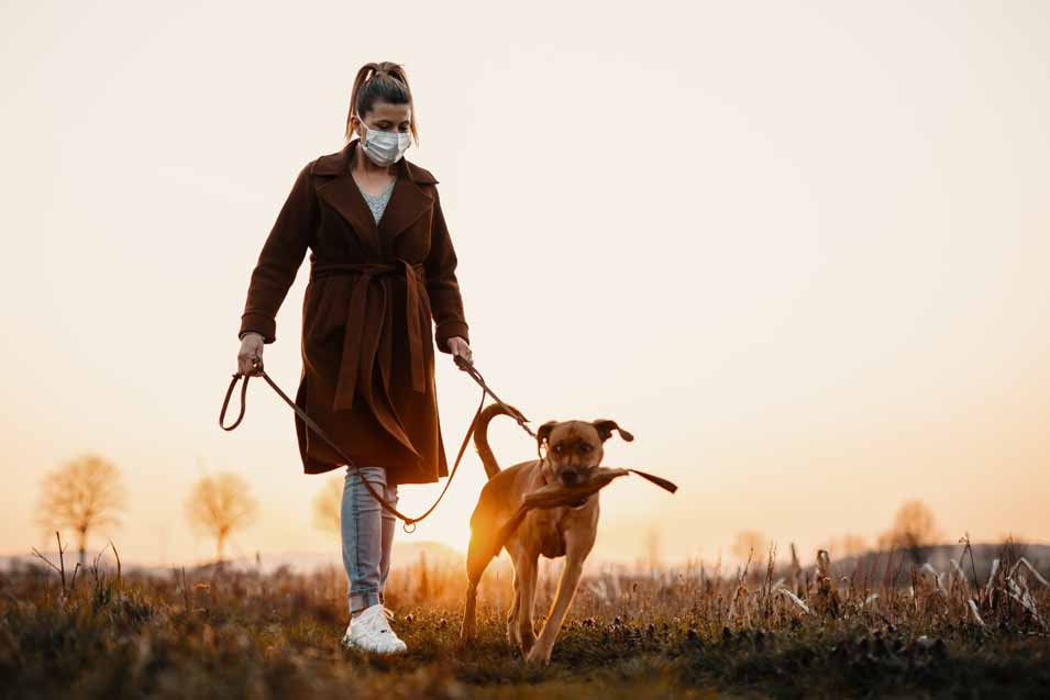 Picture of a woman walking dog during covid